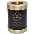 Wholesale Baby Urn: Espresso Candle Holder Memorial shown with flower