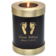 Wholesale Baby Urn: Espresso Candle Holder Memorial- Actual Feet Prints