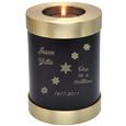 Wholesale Urn Keepsake: Espresso Candle Holder Urn engraved with snowflakes