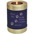 Wholesale Pet Urn: Blue Candle Holder Cat Urn shown w/ candle & engraved