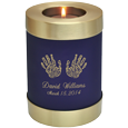 Wholesale Baby Urn: Blue Nightfall Candle Holder Memorial- Actual Hands