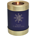 Blue Nightfall Candle Holder Urn with ships wheel engraving