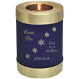 Wholesale Pet Urn: Blue Nightfall Candle Holder Dog Urn engraved with snowflakes