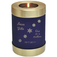 Blue Nightfall Candle Holder Urn with snowflake engraving