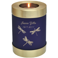 Blue Nightfall Candle Holder Urn with dragonfly engraving