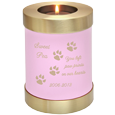 Wholesale Pet Urn: Pink Candle Holder Cat Urn shown w/ candle & engraved
