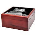 Side view of Cherry Wood Photo Tile Cat Urn Box