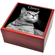 Wholesale Cat Urns: Cherry Wood Photo Tile Urn Box