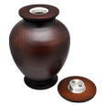 hardwood urn with open threaded lid