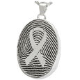 Silver Oval Fingerprint Jewelry with Awareness Ribbon with compartment