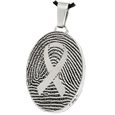 Stainless Steel Oval Fingerprint Jewelry with Awareness Ribbon with chamber