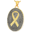 Gold Oval Fingerprint Jewelry with Awareness Ribbon with compartment