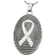 Silver Flat Oval Fingerprint Jewelry with Awareness Ribbon