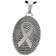 Stainless Steel Flat Oval Fingerprint Jewelry with Awareness Ribbon