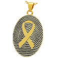 Gold Flat Oval Fingerprint Jewelry with Awareness Ribbon