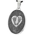 Stainless Steel Oval Fingerprint Jewelry & Babyfeet Heart compartment