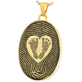 Gold-plated Oval Fingerprint Jewelry & Babyfeet within Heart compartment