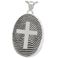 Silver Oval Fingerprint Jewelry with Cross with chamber