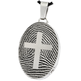 Stainless Steel Oval Fingerprint Jewelry with Cross & compartment