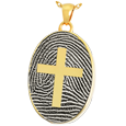 Gold-plated Oval Fingerprint Jewelry with Cross and chamber
