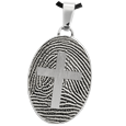 Stainless Steel Flat Oval Fingerprint Jewelry with Cross