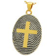 Gold Oval Fingerprint Jewelry with Cross