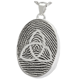 Silver Oval Fingerprint Jewelry with Trinity and chamber