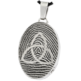 Stainless Steel Oval Fingerprint Jewelry with Trinity and chamber