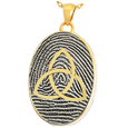 Gold Oval Fingerprint Jewelry with Trinity and chamber