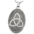 Silver Flat Oval Fingerprint Jewelry with Trinity