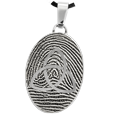 Stainless Steel Flat Oval Fingerprint Jewelry with Trinity