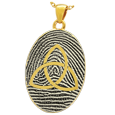 Gold Flat Oval Fingerprint Jewelry with Trinity