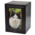 Medium cherry pet urn engraved vertical