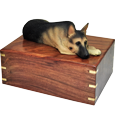 Wholesale German Shepherd dog figurine wooden urn