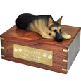 Wholesale German Shepherd dog figurine urn with engraved plaque