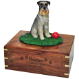 Schnauzer on Grass with Ball figurine with engraved wooden urn base