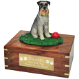 Schnauzer on Grass with Ball figurine urn with engraved plaque
