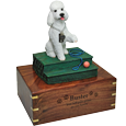 White poodle dog figurine with engraved base