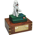 White poodle dog figurine wood urn with engraved plaque