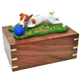 Jack Russell Terrier, Brown and White wood urn