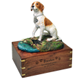 Pointer dog figurine with engraved wood base
