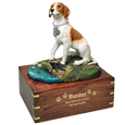 Pointer dog figurine with gold engraved wood base