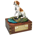 Pointer dog figurine wood urn with engraved plaque