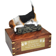 Wholesale Beagle dog figurine urn with engraved plaque