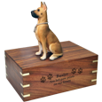 Dog urn for Great Dane shown engraved with name and clip art