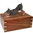 Wholesale Doberman Pinscher Red wood urn