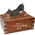 Wholesale Doberman Pinscher Red engraved wood urn