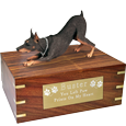 Wholesale Doberman Pinscher Red wood urn with engraved plaque