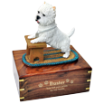 Westie dog sculpture urn