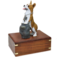 Welsh Corgi Pembroke figurine wood urn